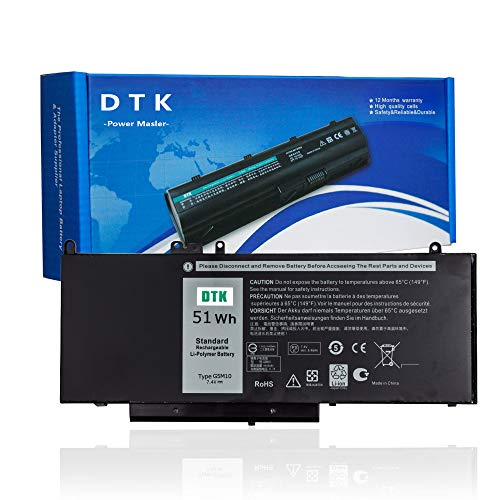 DTK G5M10 Replacement Laptop Battery for Dell Latitude E5250 E5450 E550 15.6 Inch Notebook 0WYJC2 1KY05 G5M10 8V5GX R9XM9 WYJC2 7.4V 54Wh