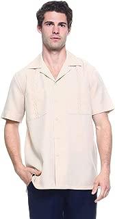 Men's Guayabera Cuban Beach Wedding Short Sleeve Button Up Casual Dress Embroidered Shirt