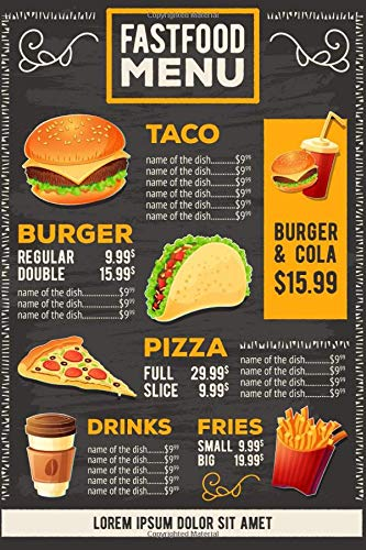 Fast Food Menu Notebook: Design Notebook, Journal, Diary, Cool (110 Pages, Blank, 6 x 9)