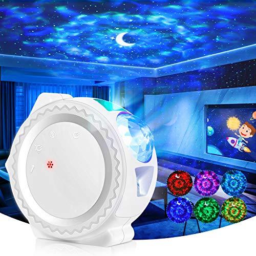 Proyector LED de estrella, lámpara de noche recargable, control táctil, luz nocturna, infantil, simulación de olas, Ocean, 6 colores de luz, decoración de dormitorio, salón, regalo ideal, color blanco