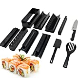 TOKINCEN 11 Piezas Kit de Hacer Sushi, Herramienta de Fabricar Sushi Molde de Rollo de Arroz, Inicio Kit de Sushi de Bricolaje 8 Formas Únicas Fabricante de Sushi con El Cuchillo de Sushi