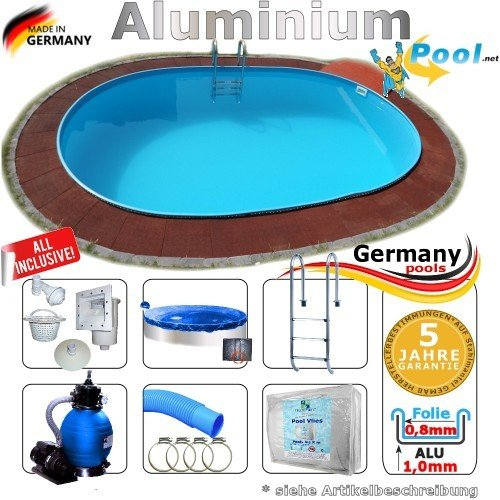 Aluminiumpool Ovalpool 4,50 x 3,00 x 1,50 Set Schwimmbecken Alu Swimmingpool 4,5 x 3,0 x 1,5 m Ovalbecken Alupool Fertigpool oval Pool Aluminium Pools Einbaupool Gartenpool Sets Aussenpool Komplettset