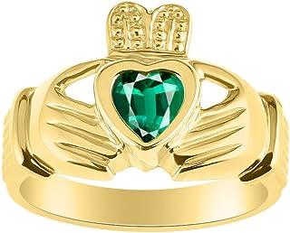 RYLOS Rings 14K Gold Plated Silver Claddah Love, Loyalty & Friendship Heart 6MM جوهرة الايرلندية زفاف باند كلاداغ خواتم حج...