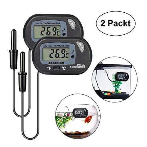 Anbaituor Digital Aquarium Thermometer - mit Saugnapf, Sonde und Batterie - LCD-Display für Terrarium, Aquarium, Vivarium (2 Stück)