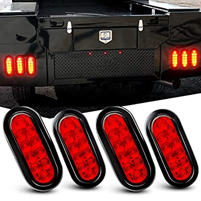 """Nilight TL-07 4PCS 10 6"""" Oval Red LED Tail w/Flush Mount Grommets Plugs IP67 Waterproof Stop Brake Turn Trailer Lights for RV Truck Jeep"""