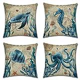 Artscope Juego de 4 fundas de cojín modernas, de lino, con estampado de animales marinos, para sofá, coche, dormitorio, 45 x 45 cm