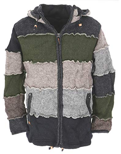 GURU SHOP Wolljacke, Patchwork Nepaljacke, Gefütterte Strickjacke Grau/olivgrün, Herren, Modell 7, Wolle, Size:XL, Jacken, Strickjacken, Ponchos Alternative Bekleidung