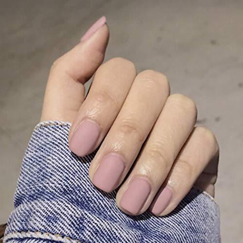 Bohend Matt kurz Falsche Nägel Reine Quadrat Gefälschte Nagel-Tipps Tägliche Nutzung Datum Partei Drücken Sie auf Nagel Für Frauen Und Mädchen(Rosa)