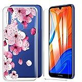 IJIA Case Per Huawei Y6S Cover + 2X Pellicola Protettiva in Vetro Temperato Trasparente - TPU Silicone Morbido Custodia Protettiva per Huawei Y6S (6.09')-WM113