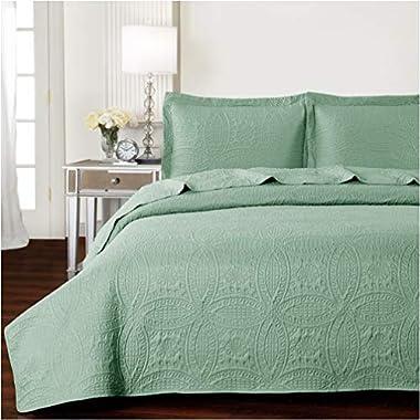 Mellanni Bedspread Coverlet Set Olive-Green Comforter Oversized 3-Piece Quilt Set (King/Cal King, Olive Green)