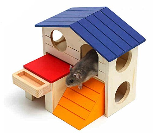 Hamiledyi Pet Small Animal Hideout Hamster House Deluxe Two Layers Wooden Hut Play Toys Chews