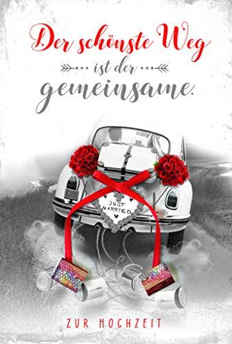 Hochzeitskarte, Glückwunschkarte Hochzeit, mit Bastelanleitung für Geldscheinrolle, im Format DIN B6 176 x 125 mm, inkl. Umschlag, Motiv: Auto