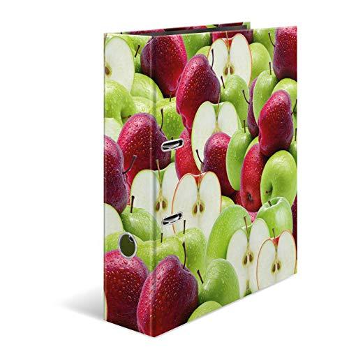 HERMA 7109 Motiv-Ordner DIN A4 Früchte Apfel, 7 cm breit aus stabilem Karton mit hochwertigem Innendruck, Ringordner, Aktenordner, Briefordner, 1 Ordner