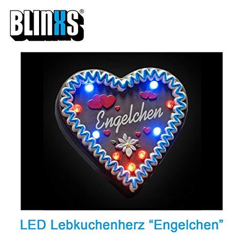BLINXS LED Lebkuchen-Herz Engelchen Multicolor Leuchtend - für Oktoberfest, Kirmes, Junggesellenabschied und Party