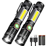 USB Rechargeable Flashlight, Magnetic Flashlights With COB Flash Light Include Battery - 4 Models, Zoomable, Water Resistant, Vnina LED Tactical Flashlight High lumen for Indoor & Ourdoor use