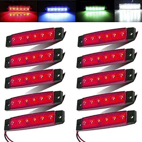 Electrely 10 Stück LED-Indikator Seitenmarkierungsleuchten vorne hintere Seite Lampe Position12V für Anhänger,LKW,Wohnwage,Wohnmobile,Van,LKW,Bus, Boot,Traktor (rot)