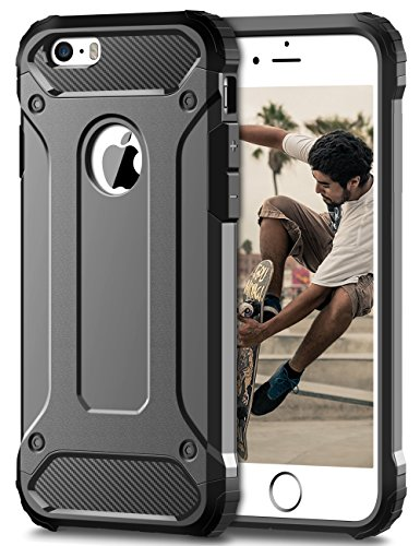 iPhone 7 Hülle, Coolden® Premium [Armor Serie] Militärstandard Outdoor Stoßfest Cover Microfaser Silikon + Carbon Bumper Air Cushion Ecken Schutzhülle für iPhone 7 Handyhülle iPhone 7 (Grau)