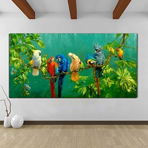 YHZSML Cuadros Coloridos Loros Pintura Animal Lienzo Pintura Arte de la Pared Impresiones para Sala de Estar Impresiones Decorativas Modernas Carteles 50x100cm
