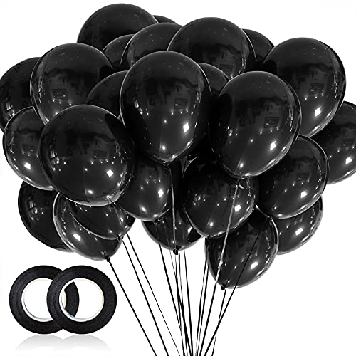 100pcs Black Balloons, 12 inch Black Latex Party Balloons Helium Quality for Party Decoration Like...
