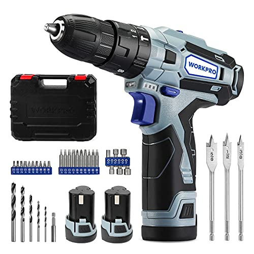 WORKPRO 12V Cordless Drill Driver Kit, 2-Speed, 2 Li-Ion Batteries 2000 mAh, Fast Charger, 3/8