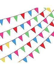 Amacoam 300 Piezas Banderines Fiesta Rojos Banderines de Tela 200 Metros Multicolor Banderín Banderines Cumpleaños Guirnaldas Decoracion Articulos de Fiesta Boda Cumpleaños Celebracion Jardín