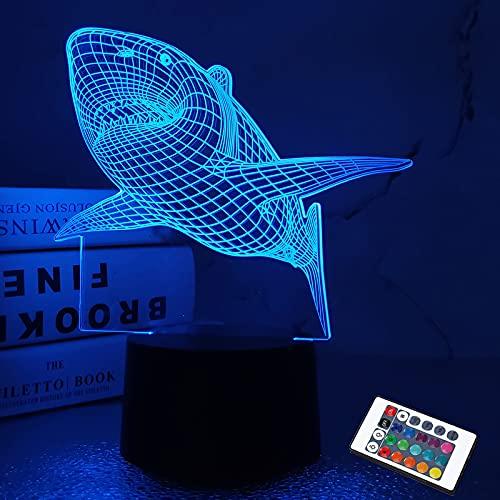 FULLOSUN 3D Illusion Lampe, Shark Night Light mit Fernbedienung Optical Touch 7 Farbwechsel Schreibtischlampen Kinderzimmer Dekor Festival Geburtstagsgeschenke für Kleinkinder Jungen Kind