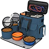 Modoker Dog Travel Bag,Weekend Pet Travel Set for Dog and Cat, Airline Approved Tote Organizer with Multi-Function Pockets (Blue)