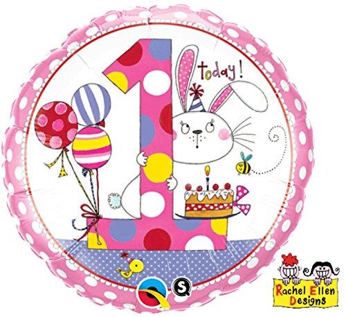 paduTec Zahlenballon Ballon Folienballon Luftballon - 1 Jahr Alter - Happy Birthday Geburtstag Mädchen - geeignet zur befüllung mit Luft oder Helium Gas - UNGEFÜLLT - zum selber füllen