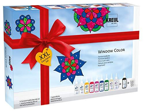 Kreul 42849 - Window Color XXL Set, für kleine und große Kreative, 9 x 80 ml Fenstermalfarben, 80 ml Konturenfarbe, eine Spezialfolie, 150 Schmucksteine und Vorlagen mit Blüten und Mandalamotiven