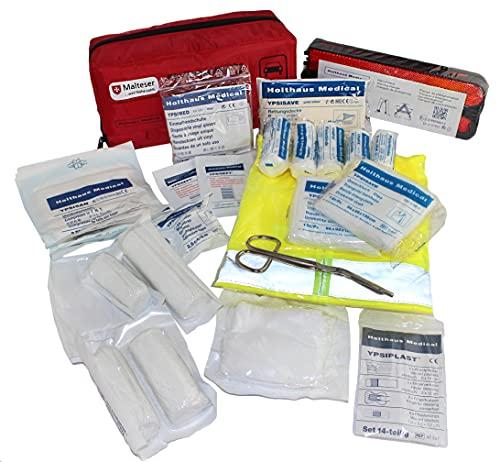 Kfz-Verbandtasche mit Warnweste, Warndreieck und Malteser Anwendungsbroschüre DIN 13164 (rot)