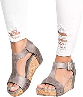 Gibobby Sandals for Women Wide Width,Open Toe Slip On Platform Sandal Espadrilles Buckle Strap Wedges Shallow Beach Shoes