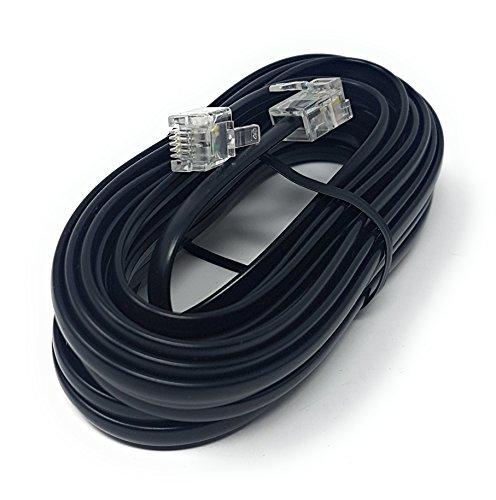 Maincore - Cavo ADSL piatto ad alta velocità per modem, cavo da RJ11a RJ11(disponibile in 1m, 2m, 3m, 5m, 10m, 15m, 20m, 30m), colore nero 5 m Nero