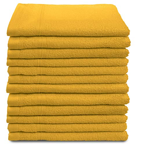 All Design Towels 12 Pack Washcloths Set Premium Quality | Thirsty Absorbent Soft & Plush Turkish Cotton - Yellow…