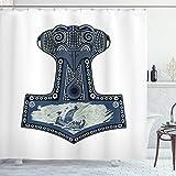 ABAKUHAUS Wikinger Duschvorhang, Skandinavische Folkloremotive, mit 12 Ringe Set Wasserdicht Stielvoll Modern Farbfest & Schimmel Resistent, 175x180 cm, Blaugrau Blau grau Marineblau