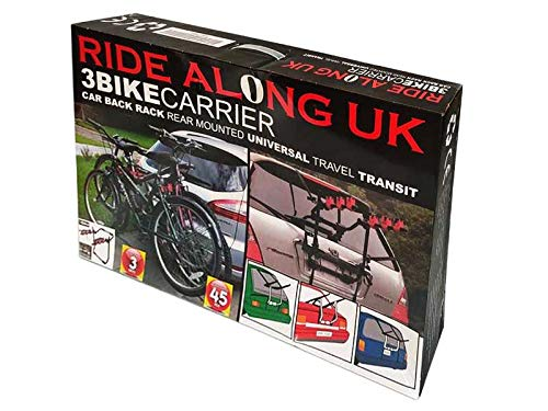 Ride Along UK Universal 3 Bike Carrier Bicycle Rack Towbar Car Rear Mounted Hitch Foldable Stand perfect for Hatchbacks, Saloons, Estates, Sedans, Vans, SUVs construction