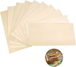 Yimaa 10 Pack Balsa Wood Sheets, Natural Unfinished Basswood Thin Craft Model Wood Sheets Planks MDF Wood Board for House ...