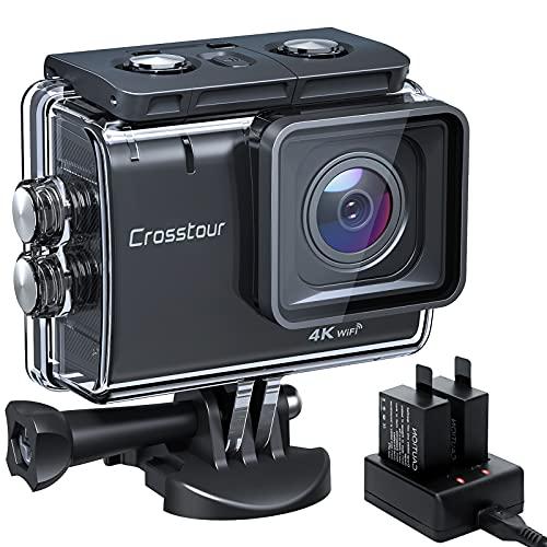 Crosstour Action Cam CT9500, 4K 50FPS 20MP WiFi EIS Stabilizzata Videocamera, Fotocamere Subacque Impermeabile 40M, 2 Batterie 1350 mAh con 19 Accessori Grandangolo Regolabile 170°