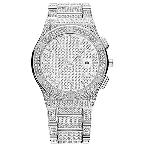 ADDG Reloj de Diamante Impermeable, Reloj de Acero Inoxidable Unisex, Reloj Calendario con Esfera Grande(Silver)