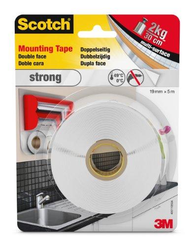 Scotch doppelseitiges Montageklebeband in Weiß 40011950 – Starker Halt für die Verwendung im Innenbereich – 19 mm x 5 m