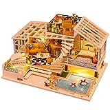 Sanmubo Puppenhaus Miniatur Dollhouse Miniature Mit Möbel Und Staubschutz DIY Dollhouse Kit...