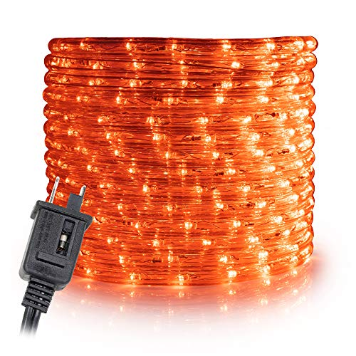 WYZworks 25' feet Orange/Amber LED Rope Lights - Flexible 2 Wire Accent Holiday Christmas Party Decoration Lighting   ETL Certified