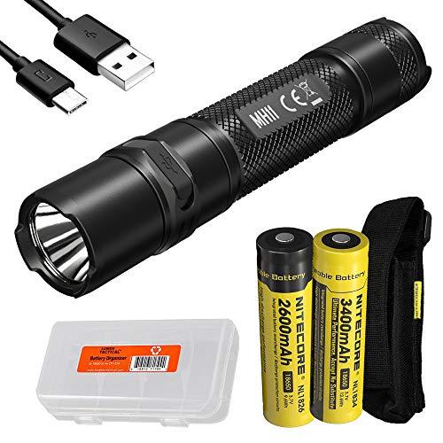 Nitecore MH11 USB-C Rechargeable EDC Flashlight, 1000 Lumen with 2x Batteries and LumenTac Battery Organizer