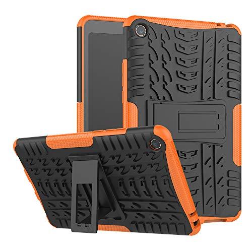 TenYll Xiaomi Mi Pad 4 Hülle, 2in1 Silikon Rückseite Schutzhülle,Heavy Duty Tough Rugged Shock Proof Hülle,Mit Halterung Doppeltem Schutz Cover für Xiaomi Mi Pad 4 -Orange