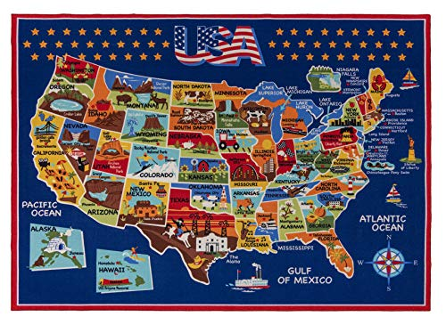 Gertmenian Smithsonian Rug US Map Learning Carpets Bedding Play Mat Classroom Decorations Blue Area Rugs 5x7, Navy