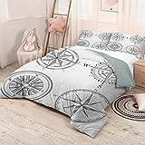 Helloleon Brújula paquete de 3 (1 funda de edredón y 2 fundas de almohada), diseño de mosaicos marineros en blanco y negro con temática de viaje a vela (completo) en poliéster negro y blanco
