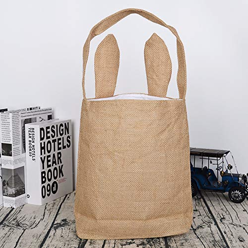 Easter Bunny Gift Bags Dual Layer Bunny Ears Basket Design Jute Cloth Bag for Eggs Hunting Party