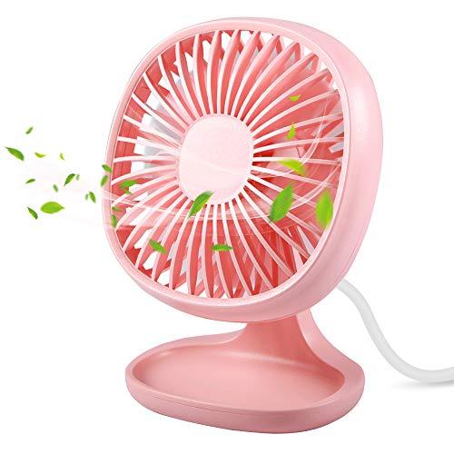 Small Table Fan for Office, TekHome Best Gifts for Women Mom Mothers' Day, Quiet Mini USB Fan, Desk Fan for Teen Girls,USB Powered, 4 Inch,Pink.