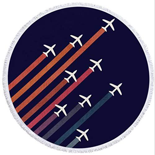 WFTD Toalla De Playa Redonda con Estampado De Avión con Estampado 3D, Suave Absorbente De Agua Y Sin Decoloración, Toalla Multiusos De Microfibra con Borla, 150Cm