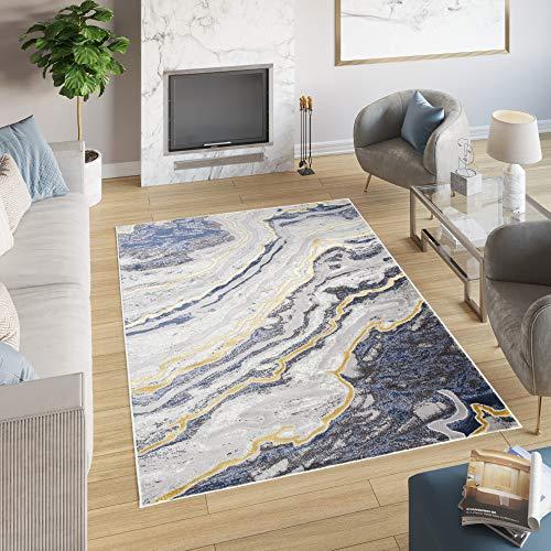 Tapiso Shine Alfombra de Salón Comedor Dormitorio Juvenil Diseño Moderno Azul Oro Gris Abstracto Suave 200 x 300 cm