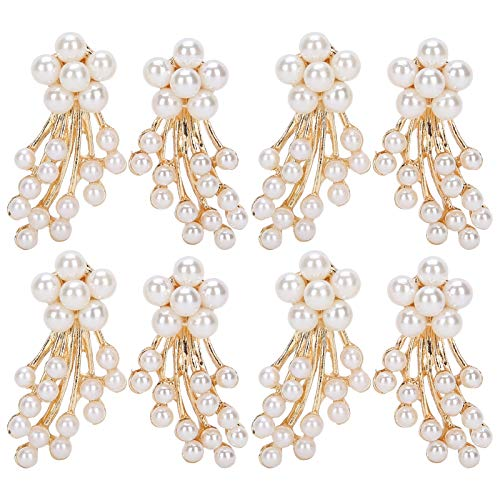 Pssopp Rhinestone Pearl Embellishments Faux Pearl Flower Pearl Brooch Flatback Embellishments for Crafts Jewelry Making Clothes Bags Headwear Wedding(#1)